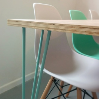 Handmade kitchen table, veneered ply, hairpin legs, Alice in Scandiland
